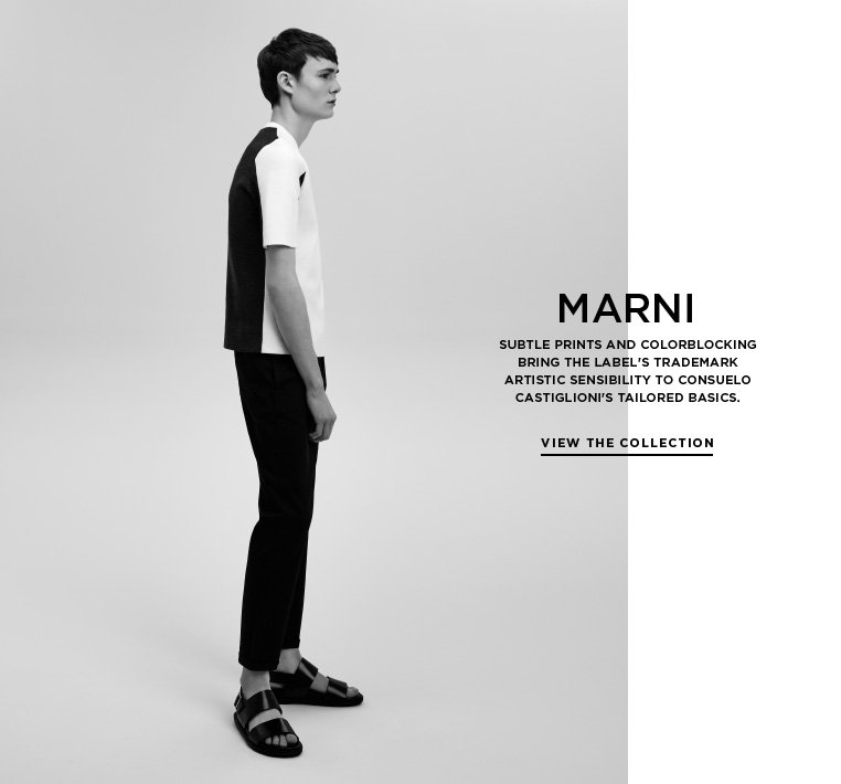 Casual character from Marni Subtle prints and colorblocking bring the label's trademark artistic sensibility to Consuelo Castiglioni's tailored basics.