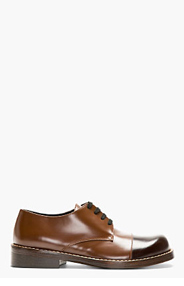 MARNI Brown Leather Capped Derbys for men