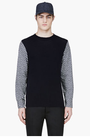 MARNI Navy Contrast Sleeve Sweater for men