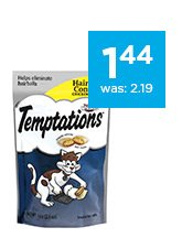 Temptations Hairball Control Cat Treats only $1.44