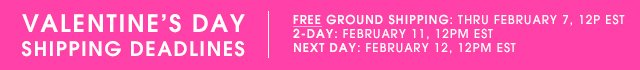 Free Ground Shipping through February 7th