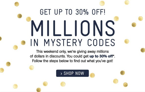 Millions In Mystery Codes - Up To 30% Off*