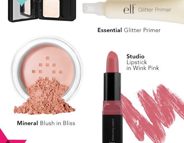 Essential Glitter Primer, Mineral Blusn in Bliss and Studio Lipstick in Wink Pink