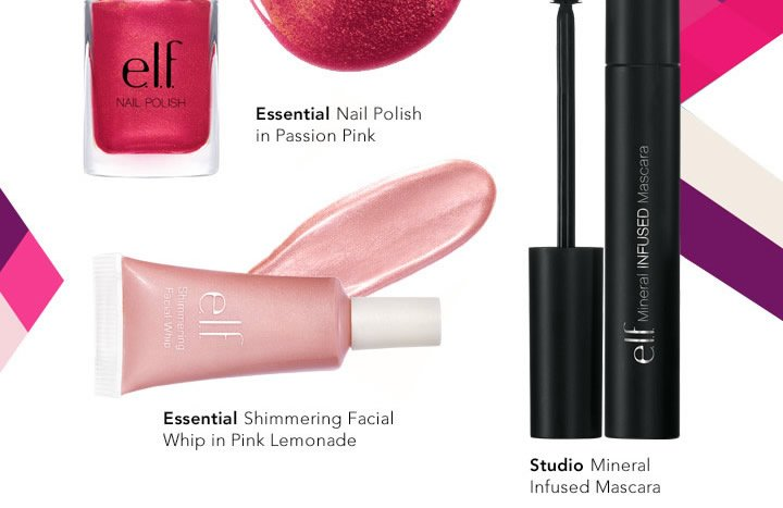 Essenentials' Nail Polisj in Passion Pink & Shimmering Facial Whip in Pink Lemonade, and Studio Mineral Infused Mascarl
