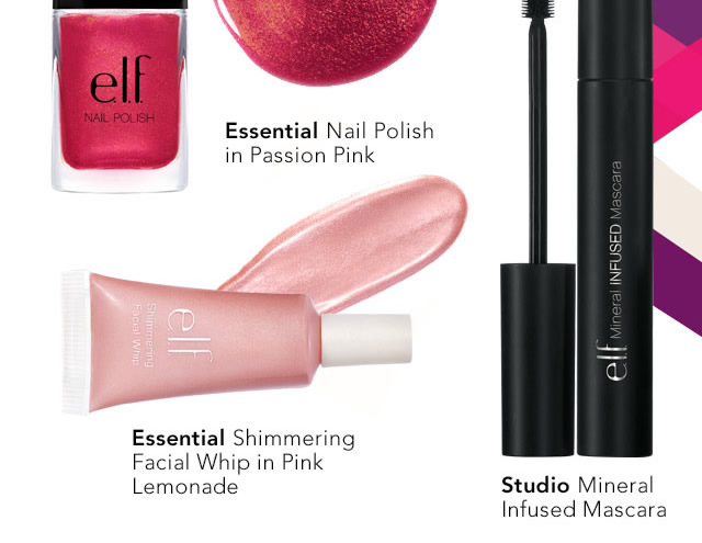 Essentials' Nail Polish & Essentials Shimmering Facial Whip in  Pink  Lemonade and Studio's Mineral Infused Mascara