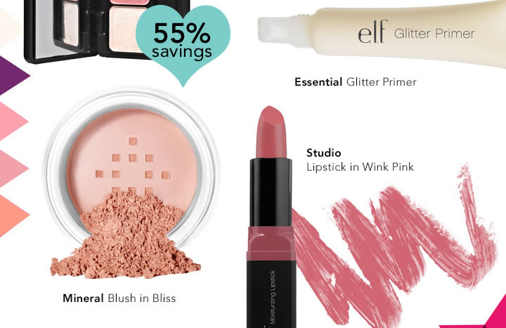 Essential Glitter Primer, Studio Lipstick in Wink Pink & Mineral Blush in Bliss