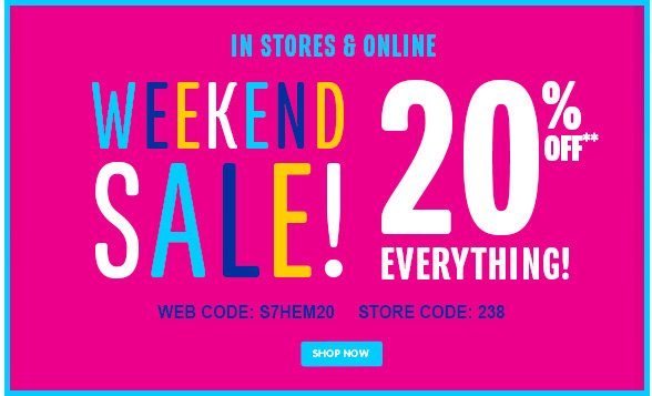 Weekend Sale - 20% Off Everything!