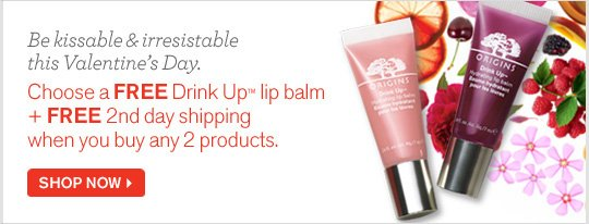 Be kissable and irresistable this Valentines Day Choose a FREE Drink Up lip balm plus FREE 2nd Day shipping when you buy any 2 products SHOP NOW