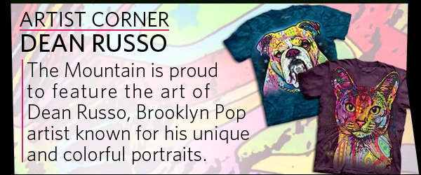 Artist Corner DEAN RUSSO: The Mountain is proud  to feature the art of  Dean Russo, Brooklyn Pop artist known for his unique and colorful portraits.