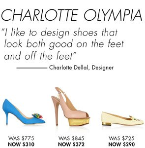 CHARLOTTE OLYMPIA - UP TO 60% OFF. SHOP NOW