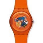Swatch SUOO100 Unisex Orangish Lacquered 2012 Spring Summer Large Orange Plastic Skeleton Dial Swiss Watch