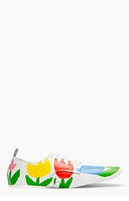 COMME DES GARÇONS White Hand-Painted Oxford Style Spats for women