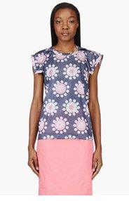 COMME DES GARÇONS Navy Floral Cut-Out T-Shirt for women