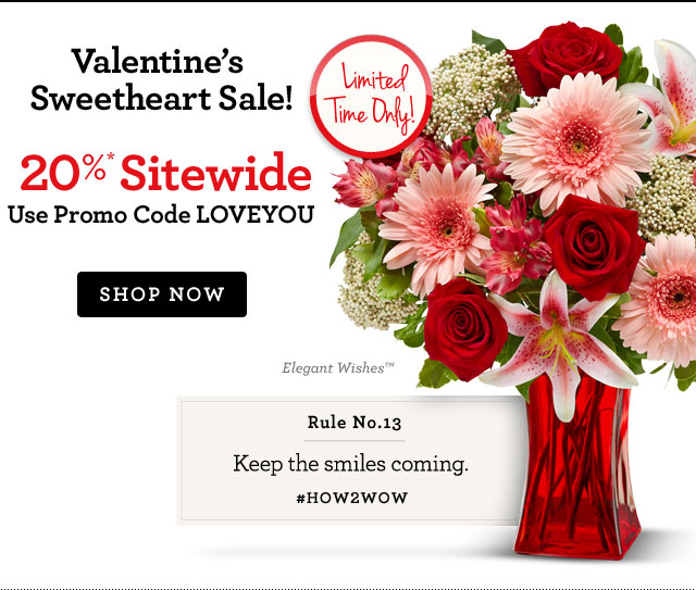 Valentine's Sweetheart Sale! 20%* Off Sitewide Use Promo Code LOVEYOU Shop Now