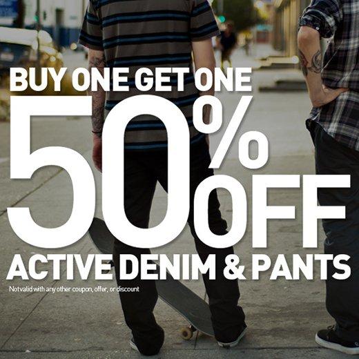 bogo 50% off active denim & pants