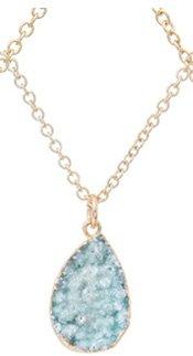 Seafoam Druzy Teardrop Pendant Necklace