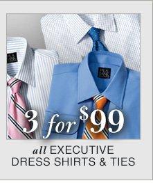 3 for $99 USD - Executive Dress Shirts & Ties
