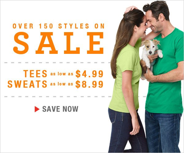 All Sweats and Tees on Sale!  Sweats as low as $8.99 & Tees as low as $4.99