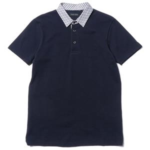 Wings + Horns Quill Print Pique Polo Navy