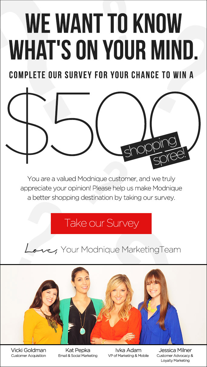 Take a Survey and win $500 shopping spree