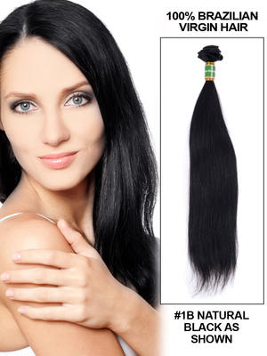 18' Straight Brazilian Virgin Hair Extension Weft - Natural Black (#1B)