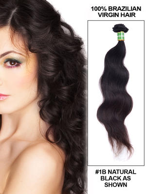 18' Body Wave Brazilian Virgin Hair Extension Weft - Natural Black (#1B)