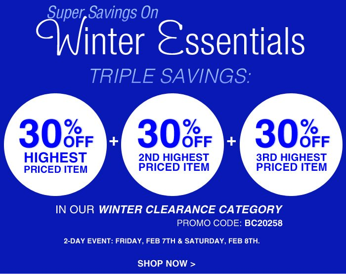 Super Savings On Winter Essentials In Our Winter Clearance Category!