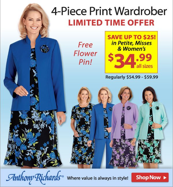 Save up to $25 4-Piece Wardrober - Limited Time Offer - $34.99 - Shop Now >>