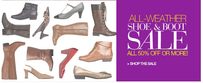 Shoe and Boot Sale, All 50% Off or More!