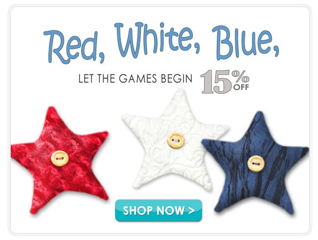 15% off select Red, White, Blue and Patriotic Fabrics