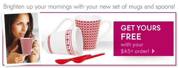 Brighten up your mornings with your new set of mugs and spoons!