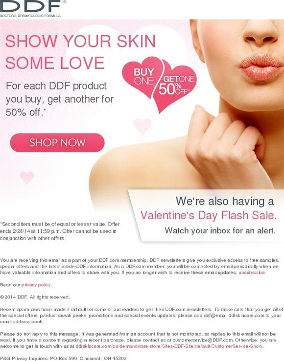 DDF Skincare: Pair up for Valentine's: Buy one product, get 50% off another | Milled