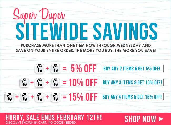 Save on any multiple items in your cart.