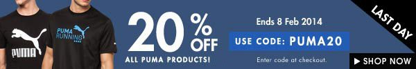 Get 20% off all puma products