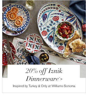 20% off Iznik Dinnerware* - Inspired by Turkey & Only at Williams-Sonoma
