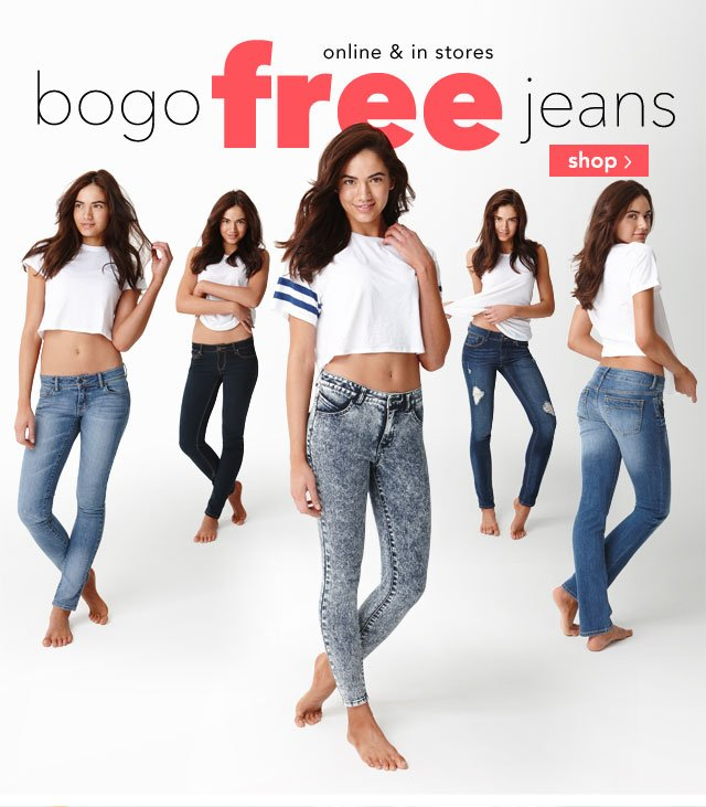 bogo free jeans online & in stores