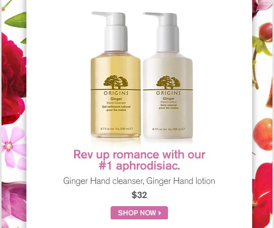 Rev up romance with our number 1 aphrodisiac Ginger Hand cleanser Ginger Hand Lotion 32 dollars SHOP NOW