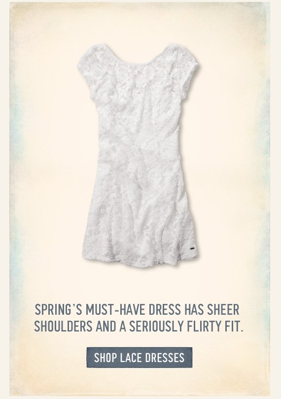 SPRING'S MUST -HAVE DRESS HAS SHEER SHOULDERS AND A SERIOUSLY FLIRTY FIT.