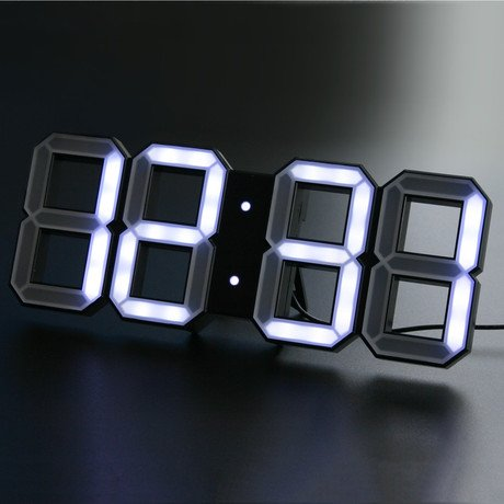 Digital LED Clock // White + Black