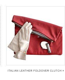 Italian Leather Foldover Clutch