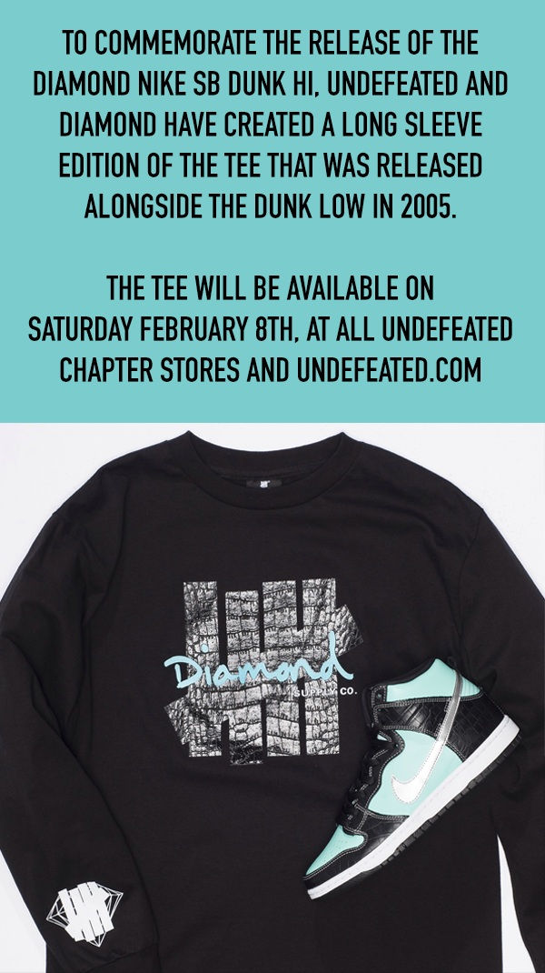 Undefeated x Diamond Long Sleeve Tee Available Now At Undefeated Stores and Undefeated.com