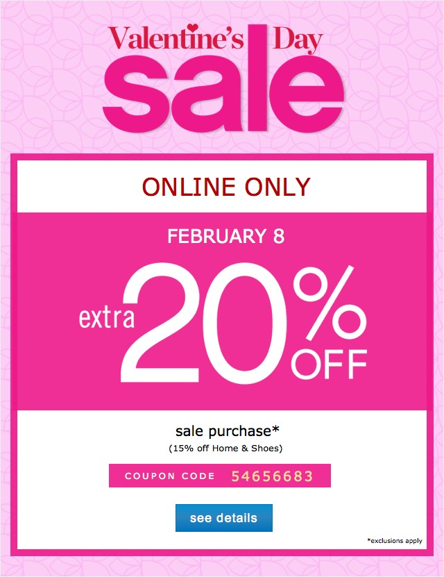 Valentine's Day Sale. Extra 20% off. See details.
