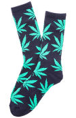 The Plantlife Crew Socks in Navy and Mint