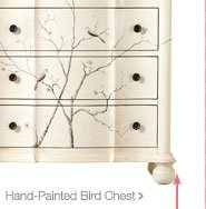 Hand painted bird chest >