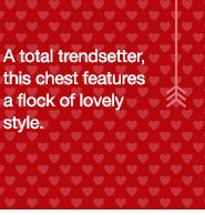 A total trendsetter, this chest features a flock of lovely style.