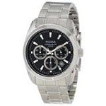 Pulsar PT3123X Men's Classic Exceptional Value Black Dial Chrono Steel Watch