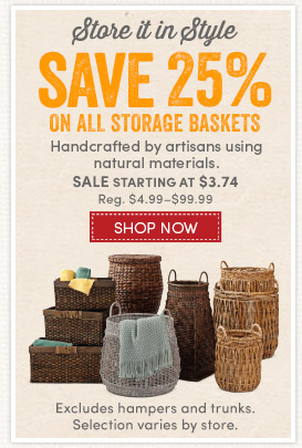 Save 25% on Storage Baskets