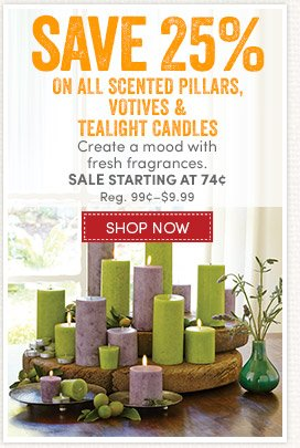 Save 25% on Scented Candles