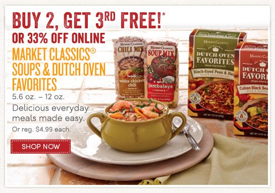 Buy 2, Get 3rd Free Market Classics Soups & Dutch Oven Favorites