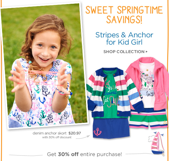 Sweet Springtime Savings! Stripes & Anchor for Kid Girl. Shop Collection. Denim anchor skort, $20.97 with 30% off discount. Get 30% off entire purchase!
